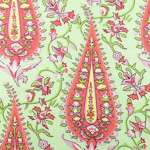Amy Butler's fabrics feature fresh takes on classic designs.  Cypress Paisley Blush is shown.
