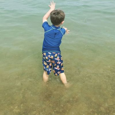 First time in the sea... Loving it #summertime #holidays