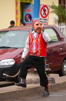 Jaywalking Police in Cusco Peru, the starting point of any Machu Picchu travel