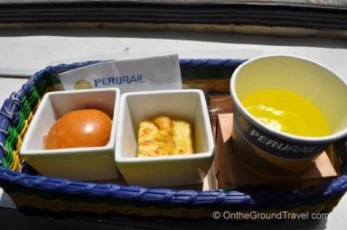 Light snacks served aboard the train on getting to Machu Picchu