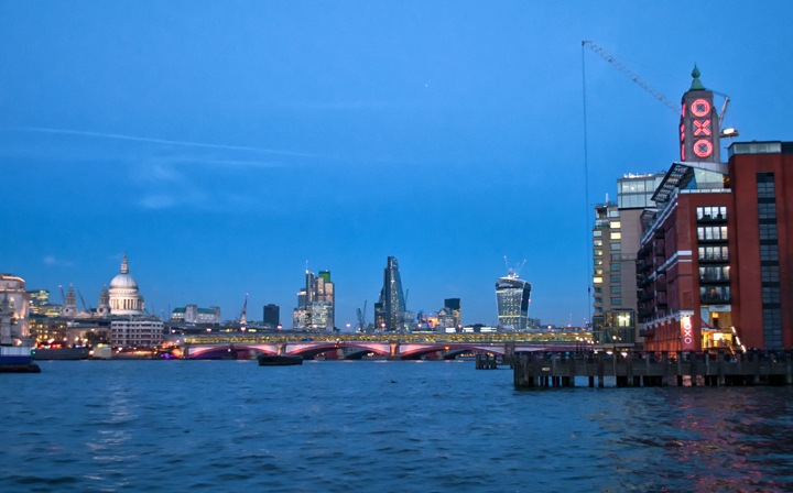 London's South Bank at dusk