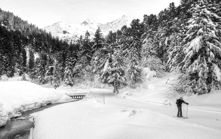 Cross country skier in Meribel-Mottaret, French Alps