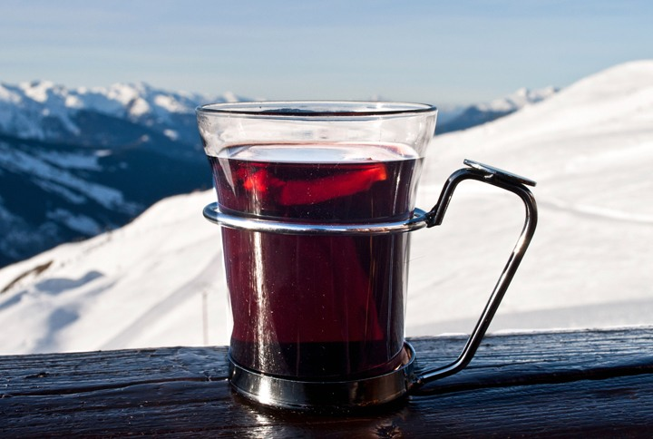 Mulled wine on the slopes in Meribel, French Alps