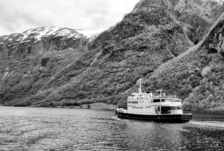 Boat through the Norwegian fjords
