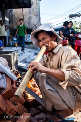 Bamboo Pipe Smoker Vientiane Laos Photo Ooaworld