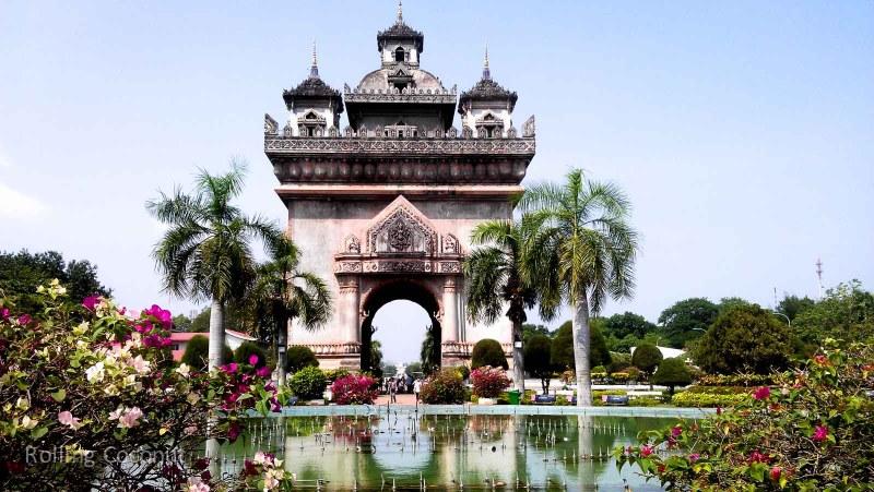 Patuxai Vientiane Laos Rolling Coconut Ooaworld Photo Ooaworld