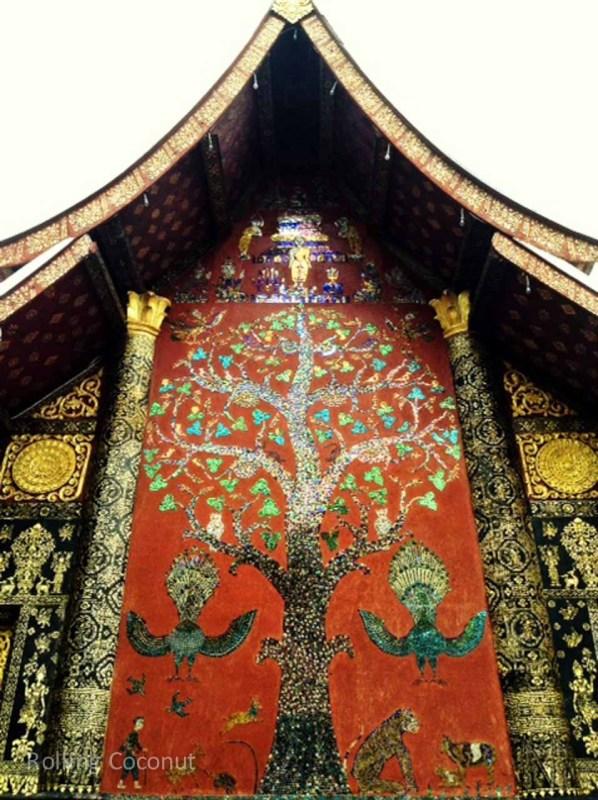 Wat Xieng Thong Wall Luang Prabang Laos Rolling Coconut Ooaworld Photo Ooaworld