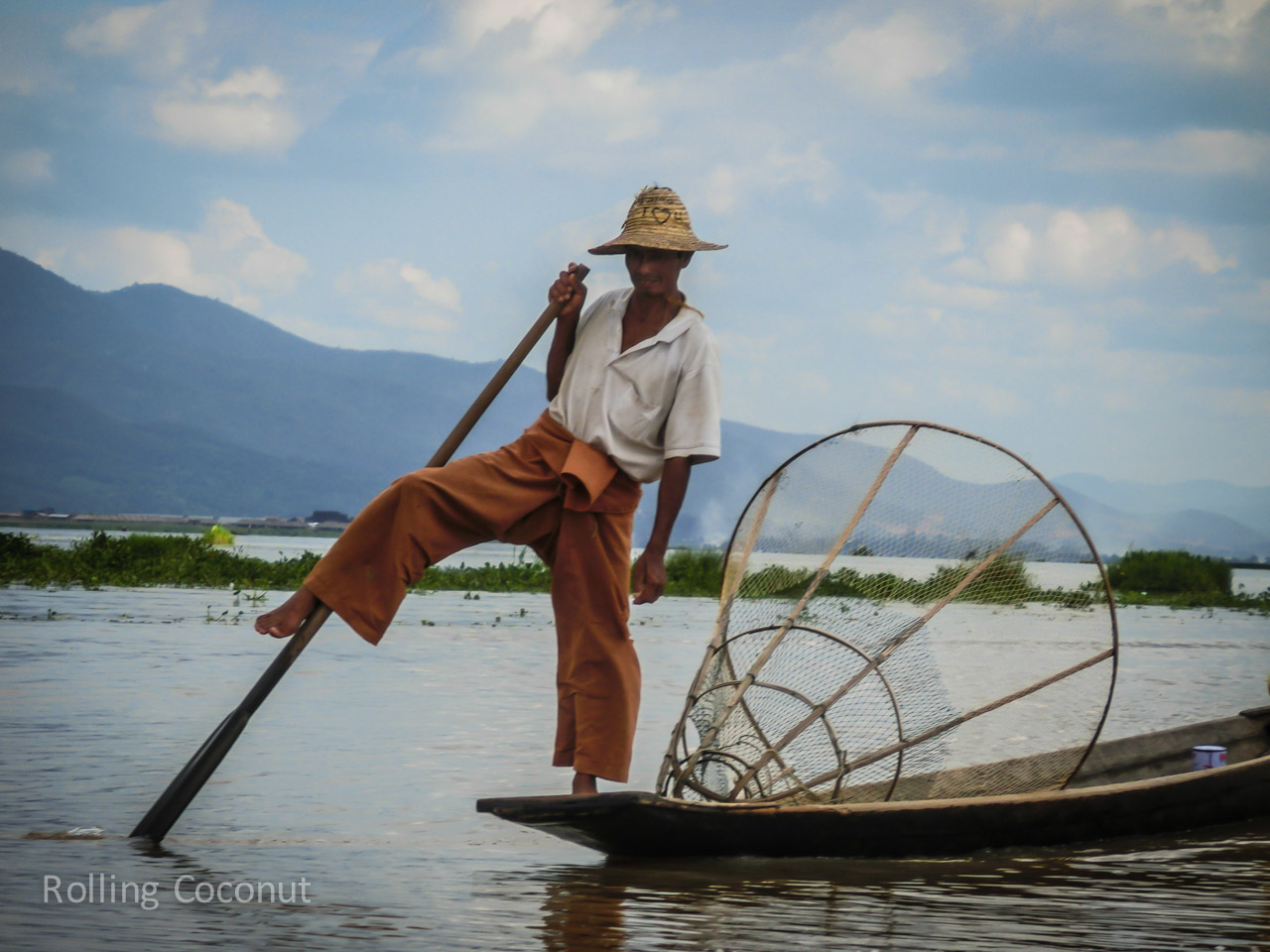 Fisherman Pose Inle Lake Myanmar ooaworld Rolling Coconut Photo Ooaworld