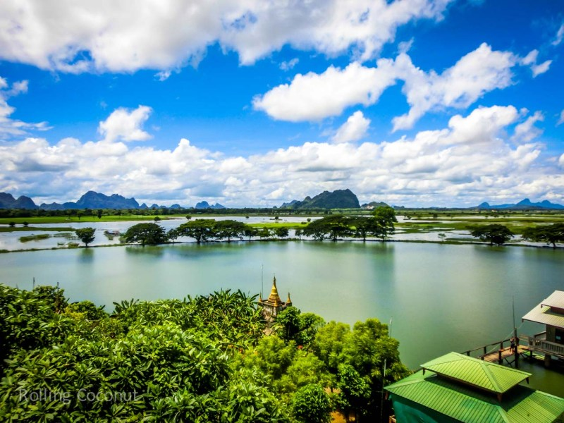 Landscape in Hpa An and Karst Mountains Myanmar ooaworld Rolling Coconut Photo Ooaworld