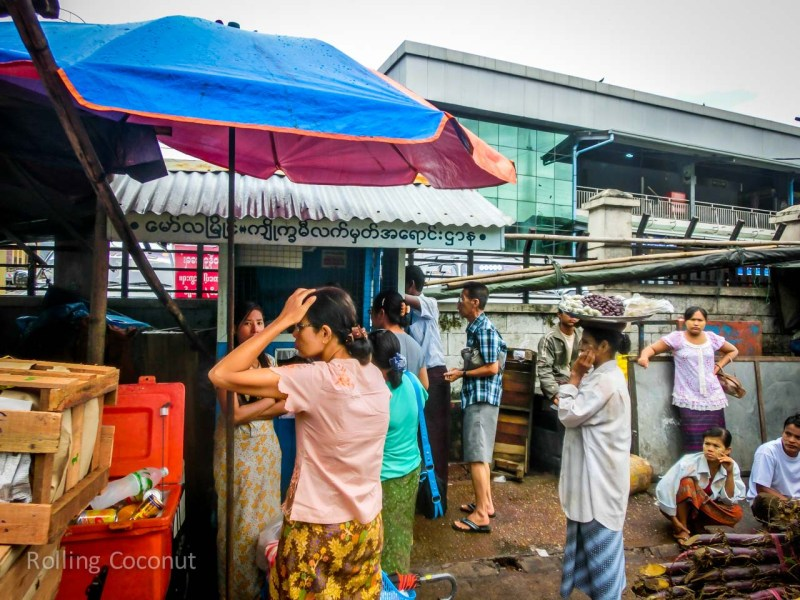 Mawlamyine Market Bus Ticket Booth ooaworld Rolling Coconut Photo Ooaworld