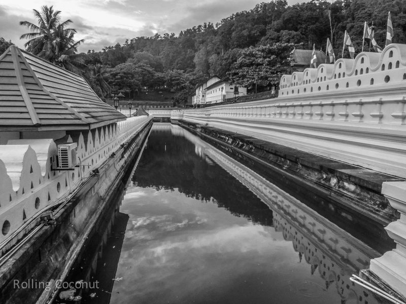 Kandy Temple of the Tooth Moat Sri Lanka ooaworld Rolling Coconut Photo Ooaworld