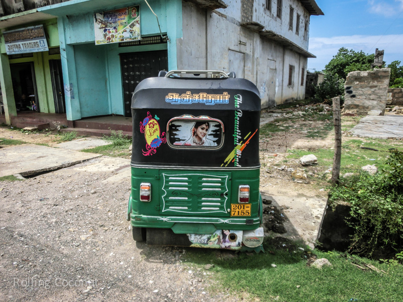 Tuk Tuks with custom designs in Jaffna Sri Lanka ooaworld Rolling Coconut Photo Ooaworld