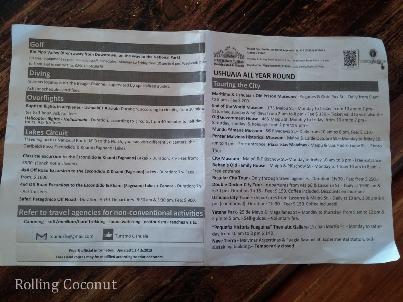 Ushuaia Argentina Beagle Channel Tour Info Sheet ooaworld Rolling Coconut Photo Ooaworld