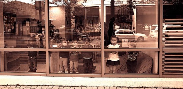Kids looking out, Louisville