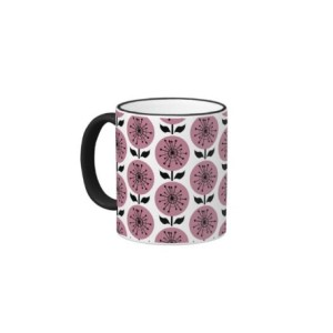 Retro Pink Flowers Ringer Coffee Mug