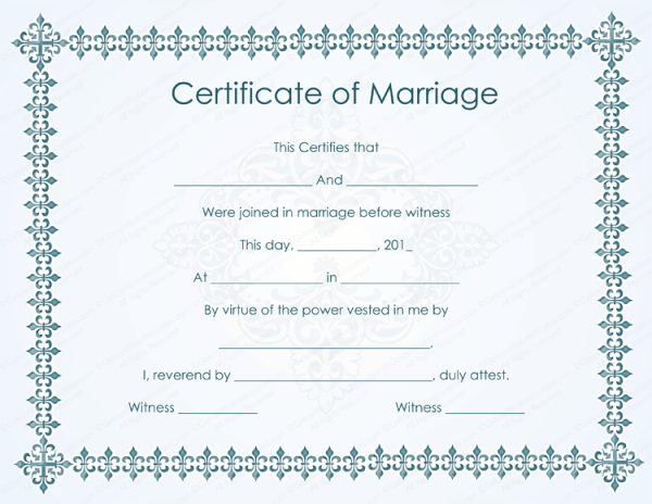 Sample Marriage Certificate Models Open Basic