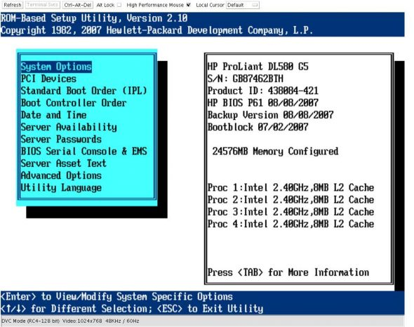 HP ROM-based Setup Utility (virtual screen)