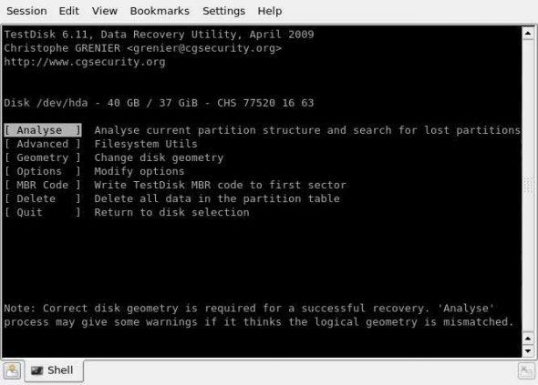 TestDisk menu