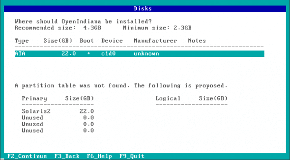 Disk selection for installation