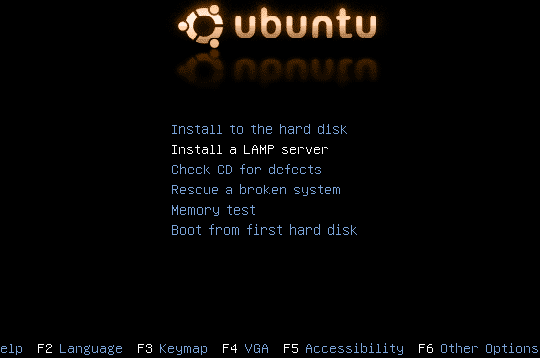 Ubuntu Server boot menu