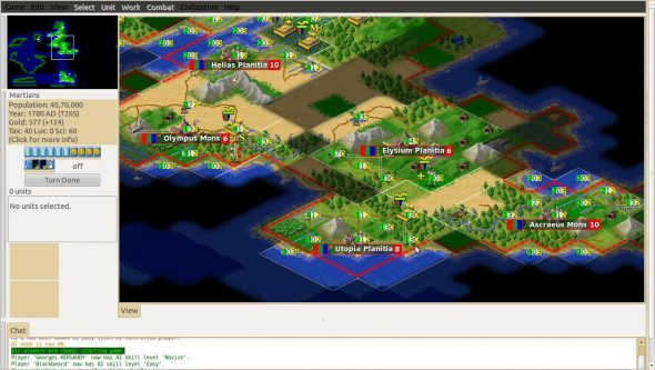 A screenshot of thhe Freeciv gameplay