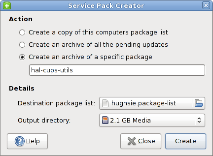 Figure 8: Service Pack Creator to upgrade packages offline later