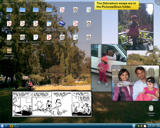 Figure 2: My personal desktop the Folder View, Comic Strip, Notes and Picture Frame widgets