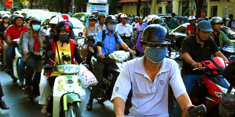 Motorbike traffic in Saigon.