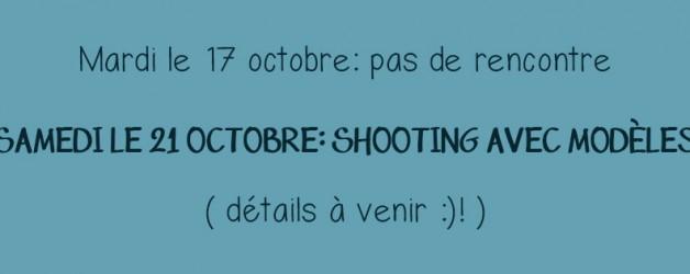 L'activité de cette semaine est le samedi le 21 octobre