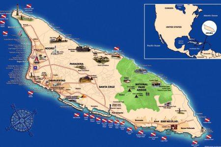 Map Of The Aruba - Aruba and us map