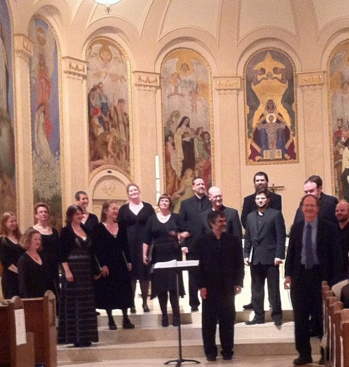 Conductor Alexander Lingas, composer Robert Kyr and Cappella Romana bask in the applause.