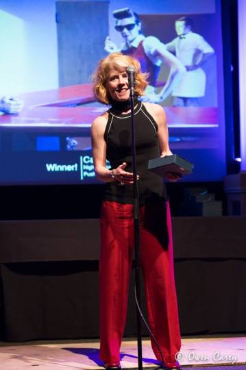 "Catherine Egan accepts her award for movement design for Push Leg's ""Nighthawks."" Photo: Owen Carey"