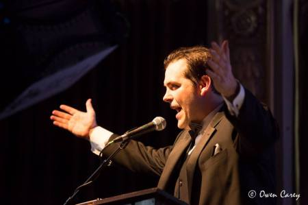 Dapper Isaac Lamb, the Drammys' emcee. Photo: Owen Carey