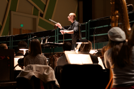 3_Photo_Pit_View Caption: View from the Orchestra Next Pit with Brian McWhorter, conductor. Credit Bluedot Productions.