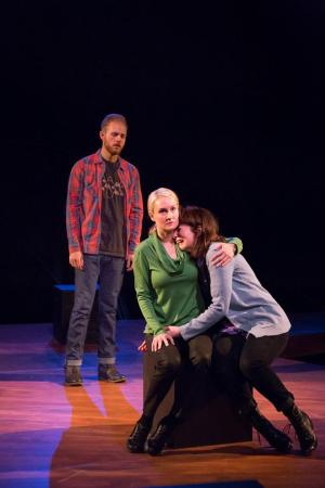 "Kelly Godell comforts Maureen Porter as Rolland Walsh looks on in  ""Static""/Courtesy Third Rail Repertory Theatre"
