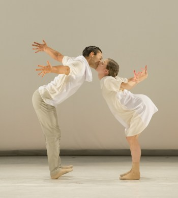 """NW Dance Project dancers (and Princess Grace Award winners) Viktor Usov and Andrea Parson in the world premiere of Sarah Slipper's """"Preludes  7-13""""/Blaine Truitt Covert"""