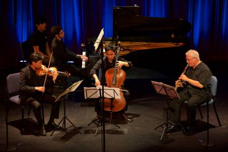 Chiffon joined Nikki Chooi, Jay Campbell and Yevgeny Yontov in Quartet for the End of Time. Photo: Tom Emerson.