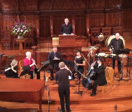 John Vergin (top) and Florian Conzetti (right) joined The Mousai, conducted by Mike Curtis, at First Presbyterian Church.
