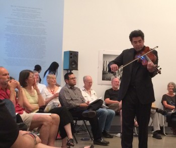 Kenji Bunch played his own music at Blue Sky Gallery.