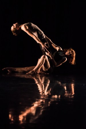 Dancers Holly Shaw, Éowyn Emerald Barrett performing in Emerald's duet Mine/Ours.