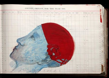 Untitled, thirty-pound ledger, 2014, paint and mixed media on government ledger, 20 x 40 x 4 inches. Photo: Julie Green