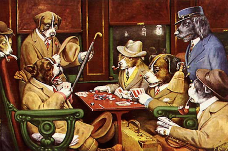 """""""His Station and Four Aces,"""" C.M. Coolidge, 1903, oil on canvas."""