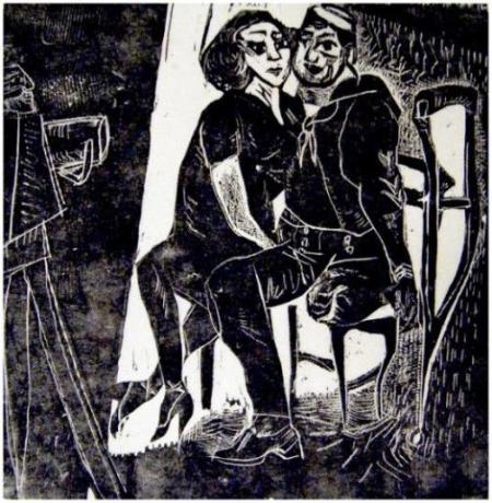 """Sailor and Date,"" ca. 1945, Florence Saltzman, woodblock print, at the Oregon Jewish Museum."
