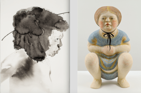 "Contemporary Northwest Art Awards, left: Samantha Wall, ""Face,"" 2014, sumi ink and dried pigment. © Samantha Wall. Photo: Dan Kvitka. Right: Akio Takamori, ""Squatting Girl in Blue Dress,"" 2012, stoneware with underglazes, 36 x 20 x 15 inches, © Akio Takamori. Photo: Richard Nicol."
