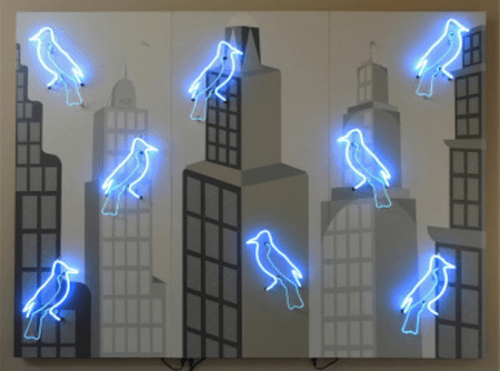 Willem Volkersz, Silent City, 2002/14, Neon, wood, and acrylic and latex paint , 73 x 99 x 6 inches