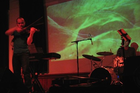 Hsu and Davies at ARCO's Feb. 13 performance at Eugene's WOW Hall. Photo: Gary Ferrington.