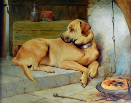 """A Golden Retriever,"" Edwin Douglas, 1900, oil on canvas, Maryhill Museum of Art"