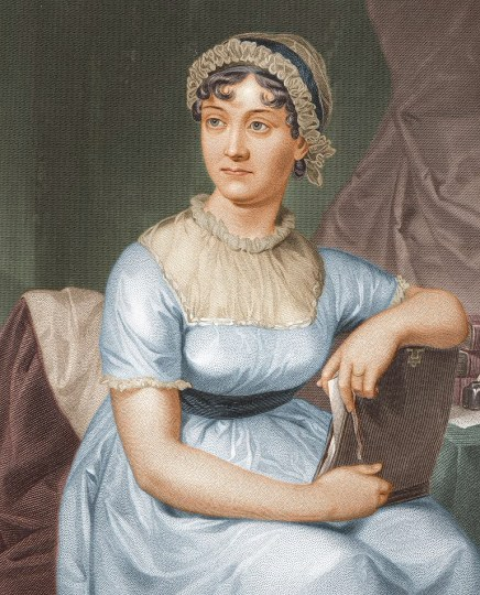 Jane Austen, colored version by unknown artist, from a drawing by her sister Cassandra; 1873. University of Texas/ Wikimedia Commons.