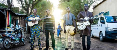 The band Songhoy Blues on a street in Bamako, Mali.