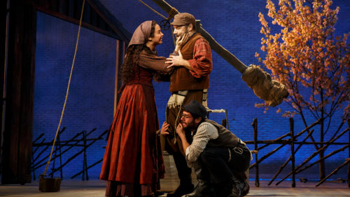 """Brunette's big horse in this year's Tonys: """"Fiddler on the Roof,"""" with Alexanda Silber as Tzeitel, Danny Burstein as Tevye, Adam Kantor as Motel. Photo: Joan Marcus"""